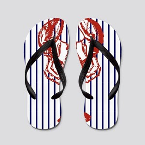 nautical stripes vintage lobster Flip Flops
