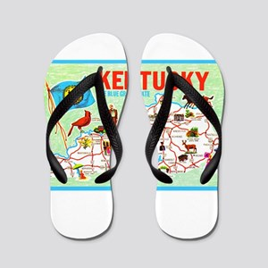 Kentucky Map Greetings Flip Flops