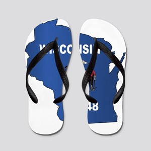 Wisconsin Outline Map And Flag Flip Flops