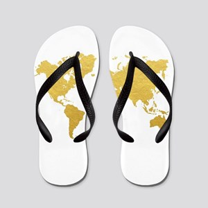 Gold World Map Flip Flops