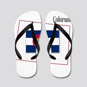 Colorado State Map and Flag Flip Flops