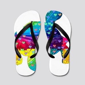 Rainbow Turtle With Multicolored Hearts Flip Flops