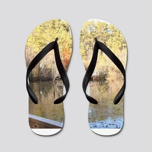 Reflections of Golden Winter Days Flip Flops