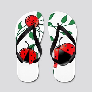 Delicate Ladybugs on Graceful Leaves Flip Flops