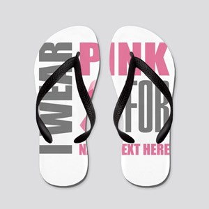 Pink Awareness Ribbon Customized Flip Flops