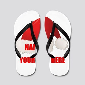 Christmas Santa Hat Personalized Flip Flops