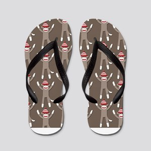 Grey Sock Monkey Print Flip Flops