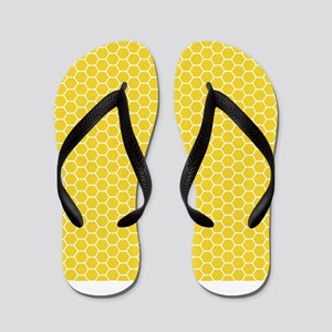 Yellow Honeycomb Flip Flops
