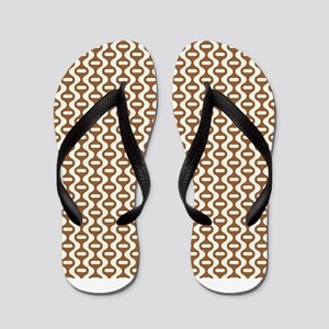 Brown Retro Wave Flip Flops
