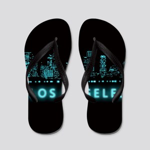 Digital Cityscape: Los Angeles, Califor Flip Flops