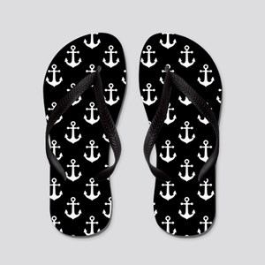 White Anchors Black Background Pattern Flip Flops