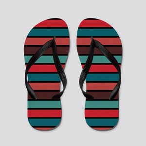 Multicolored Stripes: Ox Blood, Berry R Flip Flops
