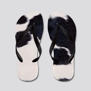 SPOTTED COW HIDE Flip Flops