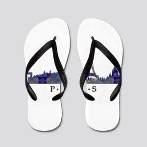 Mosaic Skyline of Paris France Flip Flops