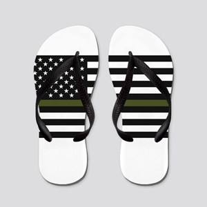 Thin Blue Line Decal - USA Flag - Red, Flip Flops