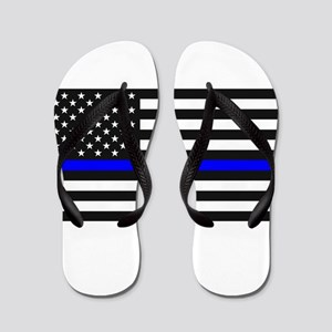 Thin Blue Line - USA United States Amer Flip Flops