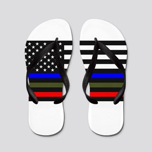Thin Blue Line Decal - USA Flag Red, Bl Flip Flops