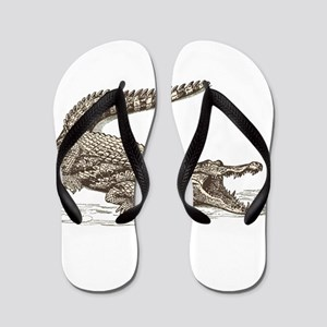 Hand painted animal crocodile Flip Flops