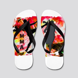 MMA Silhouettes in Red Explosion Flip Flops