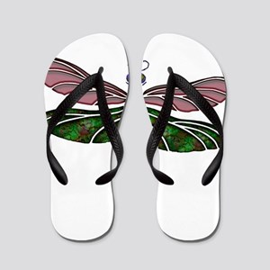 sTAINED gLASS Dragonfly Flip Flops