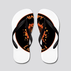 Orange Brown and Yellow Pumpkin Smash H Flip Flops