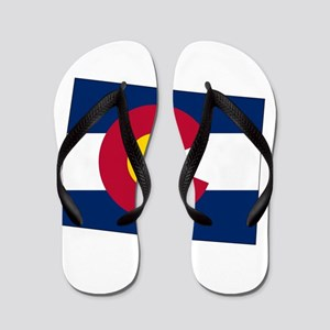 Colorado State outline Map and Flag Flip Flops