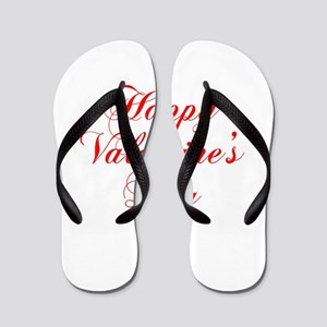 Happy Valentines Day-cho red Flip Flops