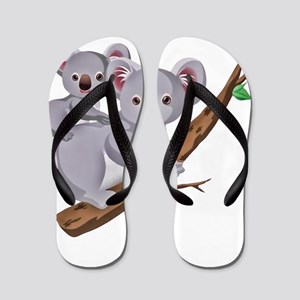Koala Bear and Baby in Tree Branch Flip Flops