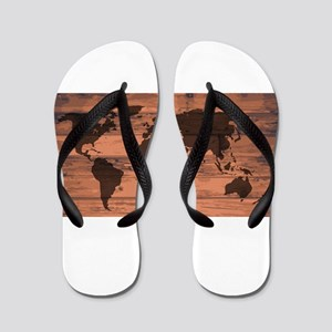 World Map Brand Flip Flops