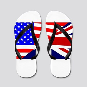 USA and UK Flags Flip Flops