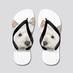 Two Cute West Highland White Dogs Flip Flops