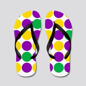 circles purple green gold Flip Flops
