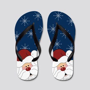 Santa Claus Holiday Christmas Flip Flops (Navy)