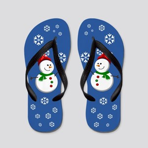 Friendly Snowmen Flip Flops