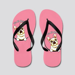 Fawn Frenchie IAAM Pink Flip Flops