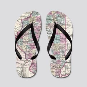 Vintage Map of Illinois (1855) Flip Flops