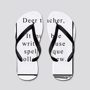 deer teacher on paper Flip Flops