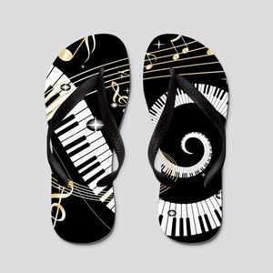 Piano and musical notes Flip Flops