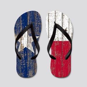 barn wood Texas Flag Flip Flops