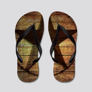 barn wood texas star Flip Flops