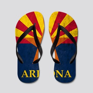 Grunge Arizona Flag Flip Flops