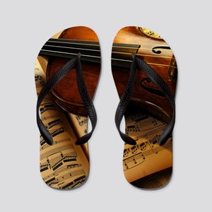 Violin On Music Sheet Flip Flops