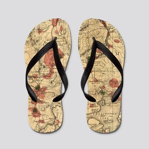 Vintage Map of Yellowstone National Par Flip Flops