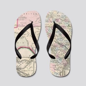 Vintage Map of Texas (1866) Flip Flops