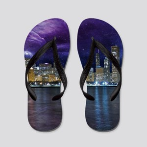 Spacey Chicago Skyline Flip Flops