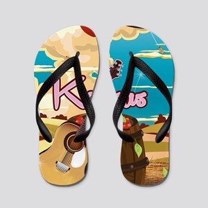 Kansas vintage cartoon travel poster Flip Flops