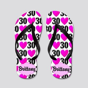 Pink Hearts 30th Flip Flops