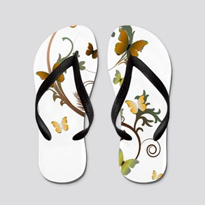 Earth Tone Butterfly Flip Flops