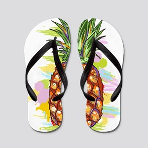 Cute PineApple Illustration Flip Flops