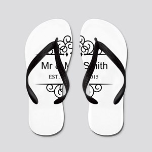 a3f35c22492a Custom Couples Name and wedding date Flip Flops